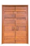 Дверь большого teak деревянная в роскошной вилле изолированной на белизне Стоковое Фото