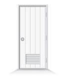 Дверь ванной комнаты на предпосылке изолята Стоковое Изображение RF