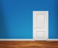 Дверь в голубой стене Стоковое Изображение RF