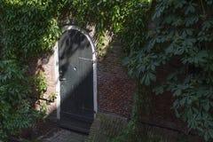 Дверь в кирпичной стене с зелеными растениями Стоковое Изображение RF