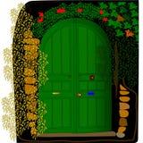Дверь в черной стене Стоковые Фотографии RF