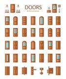 Дверь и аксессуары Линия комплект значка Стоковое Изображение