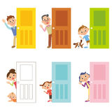 Дверь и семья Стоковые Изображения