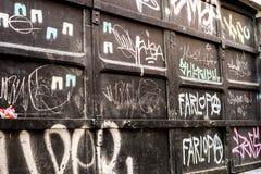 Дверь металла граффити одетая Стоковые Изображения RF