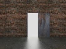 Дверь открытая на старой кирпичной стене, 3d бесплатная иллюстрация