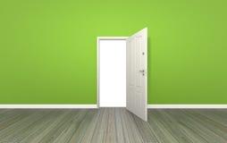 Дверь открытая на стене цвета, 3d Стоковое фото RF