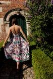 Дверь стены женщины задняя античная, Groot Begijnhof, лёвен, Бельгия стоковое фото rf