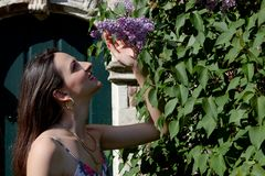 Дверь стены syringa сирени солнца женщины, Groot Begijnhof, лёвен, Бельгия стоковая фотография rf
