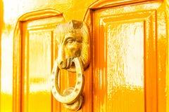 Дверь с латунным knocker в форме головы ` s лошади, beautifu Стоковые Фотографии RF