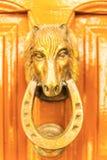 Дверь с латунным knocker в форме головы ` s лошади, beautifu Стоковая Фотография RF