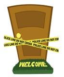 Дверь с линией полиций лентой иллюстрация вектора