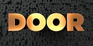 Дверь - текст золота на черной предпосылке - 3D представила изображение неизрасходованного запаса королевской власти Стоковые Фотографии RF