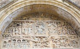 Дверь церков аббатства Святого Foy, Conques Стоковые Изображения RF