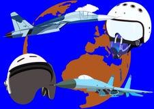 двигатели шлемов полета самолет-истребителя иллюстрация штока