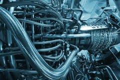 Двигатель газовой турбины приложения компрессора газа питания обнаруженного местонахождение надутого внутренностью, двигатель газ Стоковое Изображение RF