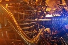 Двигатель газовой турбины приложения компрессора газа питания обнаруженного местонахождение надутого внутренностью, двигатель газ Стоковые Фотографии RF