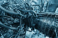 Двигатель газовой турбины приложения компрессора газа питания обнаруженного местонахождение надутого внутренностью, двигатель газ Стоковая Фотография