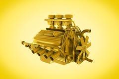 двигатель золотистый Стоковые Фото