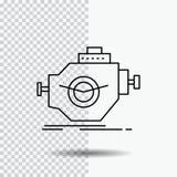 Двигатель, индустрия, машина, мотор, линия значок представления на прозрачной предпосылке r бесплатная иллюстрация