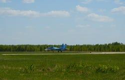 Двигатель на взлётно-посадочная дорожка авиапорта Kubinka, области Москвы, России, может 12, 2018 Стоковое фото RF