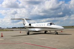 Двигатель цитации Цессны на авиапорте Нового Орлеана частном Стоковое Изображение RF