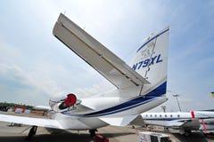 Двигатель близнеца цитации 560XL Цессны на дисплее на Сингапуре Airshow Стоковые Изображения RF