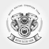 Двигатель мотоцикла - мотор модулятора, выставка велосипеда бесплатная иллюстрация