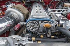 Двигатель 1994 Тойота Supra на дисплее Стоковая Фотография