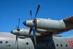 Двигатель турбовинтового самолета с пропеллером Конец-вверх стоковое фото