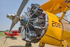 Двигатель Jacobs винтажной модели 75 Боинга Stearman самолет-биплана Стоковая Фотография