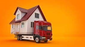 Двигать дом с тележкой бесплатная иллюстрация