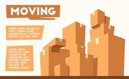 Двигать с коробками Компания перехода alien кот шаржа избегает вектор крыши иллюстрации бесплатная иллюстрация