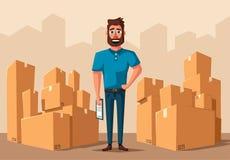 Двигать с коробками Компания перехода alien кот шаржа избегает вектор крыши иллюстрации иллюстрация вектора