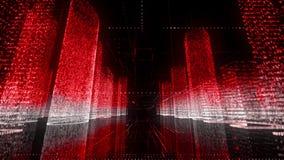 Двигать через яркую красную и белую покрашенную модель абстрактного цифрового города, который содержат случайных номеров и символ видеоматериал