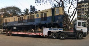 Двигая двигатель WCAM 3 на kalyan железнодорожной станции товаров стоковая фотография