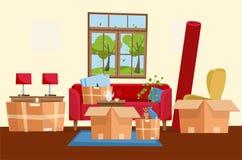 Двигая концепция домашнего интерьера с бумажными картонными коробками Двигая коробки в новом доме Семья передислоцированная к нов бесплатная иллюстрация