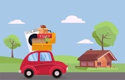Двигая концепция Красный винтажный автомобиль с чемоданами, стиральной машиной и заводом на крыше управляя к деревянному дому Пло бесплатная иллюстрация