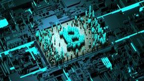Движение абстрактных номеров случайное в форме bitcoin монеток Голубая предпосылка 4K видеоматериал