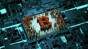 Движение абстрактных номеров случайное в форме bitcoin монеток Стоковое Фото