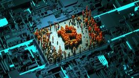 Движение абстрактных номеров случайное в форме bitcoin монеток Стоковые Фото