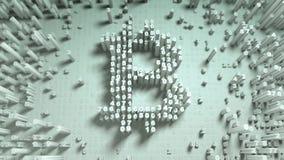 Движение абстрактных номеров случайное в форме bitcoin монеток Стоковые Изображения RF