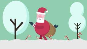 Движение анимации Санта Клауса в холме рождество веселое бесплатная иллюстрация