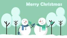 Движение анимации снеговика в холме рождество веселое бесплатная иллюстрация