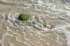 Движение воды вокруг камня мха Стоковые Фотографии RF