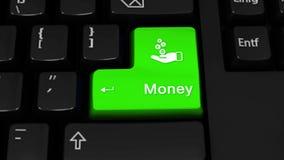 05 Движение вращения денег на кнопке клавиатуры компьютера иллюстрация вектора