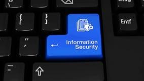 Движение вращения информационной безопасности на кнопке клавиатуры компьютера акции видеоматериалы