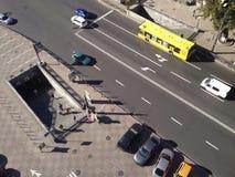 Движение в городе, взгляд сверху Стоковая Фотография