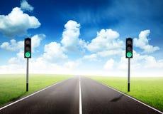 движение дороги зеленого света Стоковая Фотография RF