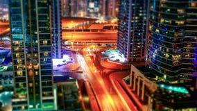 Движение Дубай на ноче сток-видео