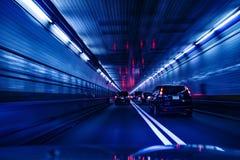 Движение и низкоскоростная шторка на тоннеле Нью-Йорке к Нью-Джерси стоковые фотографии rf